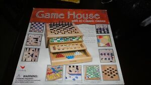 wooden Game House, with 10 classic board games