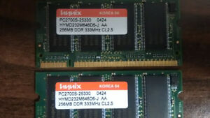 Selling 2 x 256 MB DDR 333 PC2700S laptop memory