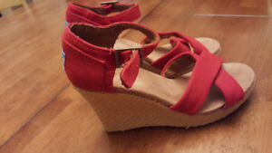 Brand new red Toms wedges