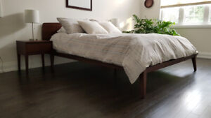 Mid-Century Modern Queen Bed, End Tables and Firm Mattress