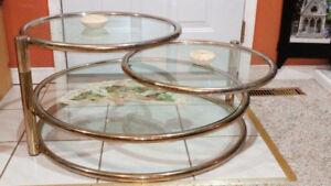 Glass and brass 3-tier coffee table, Milo Baughman designer copy