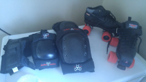 Roller skates and safety gear