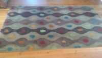 "5x7'9"" contemporary area rug, wood with cotton backing, obo"
