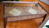 Glass and stone tile coffee table and end table