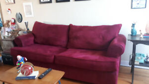 Red microfiber pullout sofa