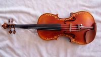 Nicely Carved Full Size Violin Fiddle One Piece Back