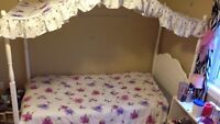 Girls Canopy Bed with mattress and box spring