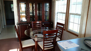 Glass top dining table, 4 chairs + china cabinet / display case