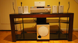 TV Stand, Sony Home Theater and 4 Speaker Stands - $220