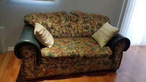 SOFA SET WITH LEATHER HANDLE AND  GLASS TABLE