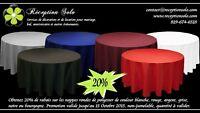 20% de rabais sur nappes rondes de polyester (choix de couleur)