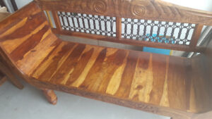 Handcrafted exotic wood hallway bench