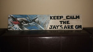 Blue Jays reclaimed wood art