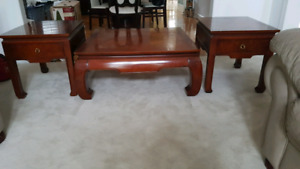 Genuine Cherrywood Coffee Table with 2 side tables