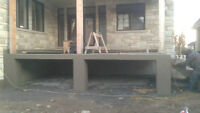 Installation,balcon & dalle de cabanon crépi, béton ESTAMPÉ