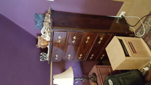 Long cherry stained  dresser with mirror and matching  tallboy