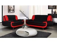 KROL 3+2 or CORNER SOFA SUITE IN BLACK, RED , WHITE LEATHER SEATERS == SAME DAY DELIVERY