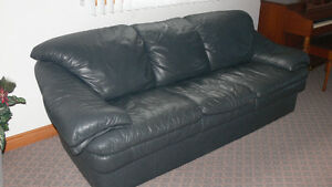 Couch & Chair Charcoal Grey Leather