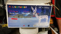 3d moving reindeer with lights for exterior or interior use
