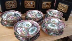 Old Chinese Tea Cup Saucer Sets, 老广彩人物故事盖碗五套