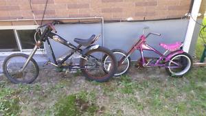 Two cool kids chopper bikes