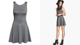 Grey Sleeveless With V shaped Open Back Skater Mini Dress Size 8-10