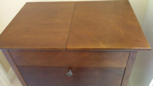 Compact solid wood bar cabinet - like new