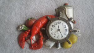Vintage Burwood Products New Haven Novelty Lobster Wall Clock