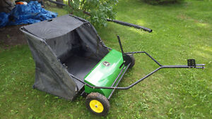 "ALMOST NEW - 42"" JOHN DEERE TOW BEHIND LAWN SWEEPER"