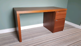 Desk - large, dark wood veneer pedestal desk