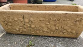WillowStone signed Rustic Shell Garden Trough Garden Planter