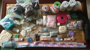 Large lot of ribbon,leather,and sewing material