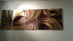"Metal Wall Art - 5 Panel - 12"" x 24"" Ea - Holographic in Gold"