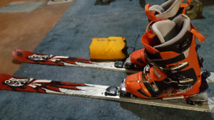 Telemark skis, boots, bindings, skins