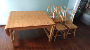 SOLID PINE WOOD DINING TABLE SET
