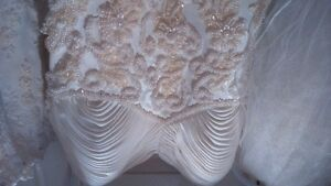 Two wedding dresses with veils, size 5-6, silk