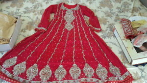 Pakistani Bridal Dress in Red + clutch + shoes