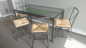 New Glass Dining Table and Chairs Set - $250