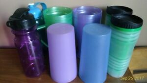 Assorted plastic cups/glasses/sports bottles