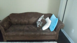 Brown Suede Sofa and Loveseat