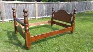 Solid Wood, Queen size bed, Cannon ball, Custom made  $250 Kitchener / Waterloo Kitchener Area image 1
