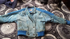 Leather Attic women's small light blue suede bomber jacket