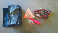 Booster/Jumper Cables, flare, cones, carry bag