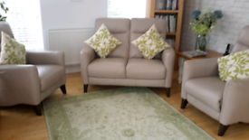 Genuine leather sofa+armchair+electric recliner suit in pebble, VGC