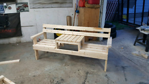 wood bench made from spruce or cedar