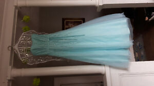 Gorgeous light teal strapless Alfred Angelo prom dress