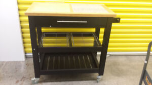 Mobile Harvest Kitchen Cart with Granite Inlay