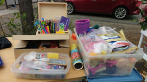 Craft supplies - a big variety (plus a pink and purple slinky!)