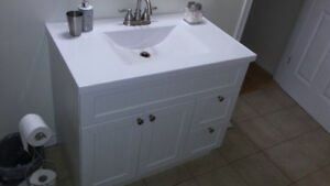 36 inch Vanity and White Cultured Marble top