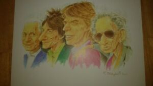 Rolling Stones caricature picture with frame